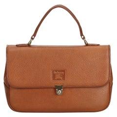 Vintage Authentic Burberry Brown Leather Handbag United Kingdom MEDIUM