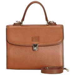 Vintage Authentic Burberry Brown Leather Satchel United Kingdom SMALL