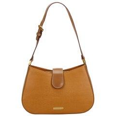 Vintage Authentic Burberry Brown Leather Shoulder Bag United Kingdom MEDIUM