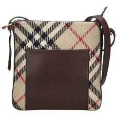 Vintage Authentic Burberry Brown Nova Check Crossbody Bag United Kingdom MEDIUM