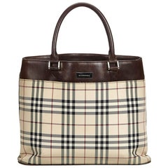 Vintage Authentic Burberry Brown Nova Check Handbag United Kingdom LARGE