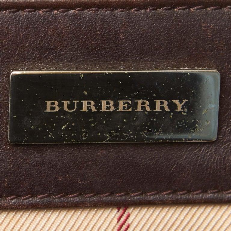 Vintage Authentic Burberry Brown Plaid Boston Bag United Kingdom MEDIUM  For Sale 1