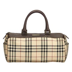 Vintage Authentic Burberry Brown Plaid Boston Bag United Kingdom MEDIUM