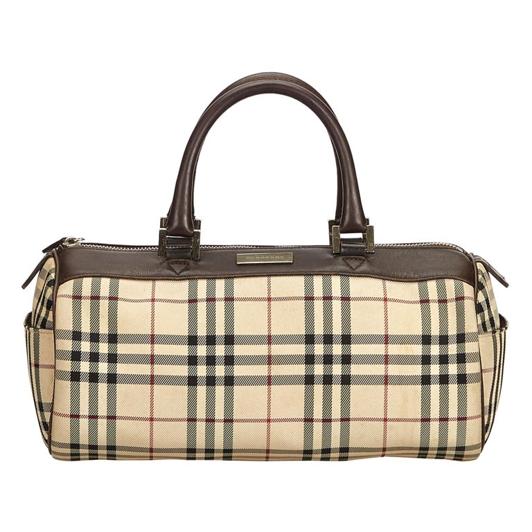 Vintage Authentic Burberry Brown Plaid Boston Bag United Kingdom MEDIUM  For Sale