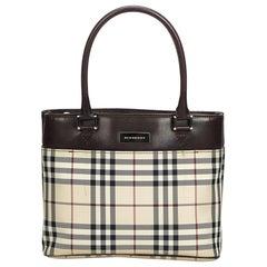 Vintage Authentic Burberry Brown Plaid Canvas Handbag United Kingdom SMALL