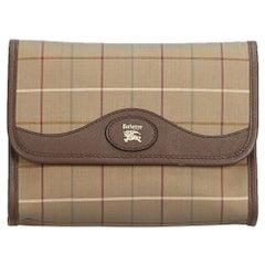 Vintage Authentic Burberry Brown Plaid Clutch Bag United Kingdom w Box SMALL