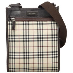 Vintage Authentic Burberry Brown Plaid Crossbody Bag United Kingdom SMALL