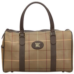 Vintage Authentic Burberry Brown Plaid Duffle Bag United Kingdom LARGE