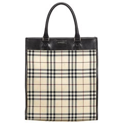 Vintage Authentic Burberry Brown Plaid Handbag United Kingdom LARGE