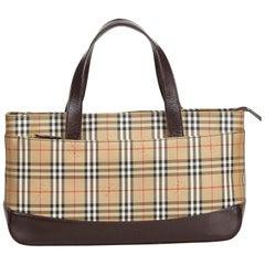 Vintage Authentic Burberry Brown Plaid Handbag United Kingdom MEDIUM