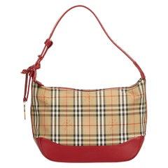 Vintage Authentic Burberry Brown Plaid Handbag United Kingdom w Dust Bag SMALL