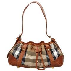 Vintage Authentic Burberry Brown Plaid Shoulder Bag United Kingdom w MEDIUM