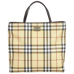 Vintage Authentic Burberry Brown Plaid Tote Bag United Kingdom LARGE