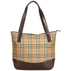 Vintage Authentic Burberry Brown Plaid Tote Bag United Kingdom LARGE