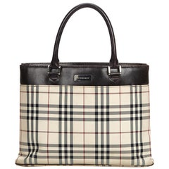 Vintage Authentic Burberry Brown Plaid Tote United Kingdom LARGE