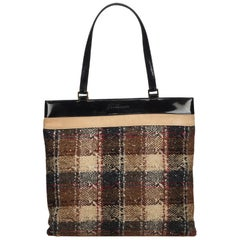 Vintage Authentic Burberry Brown Wool Fabric Tote Bag United Kingdom LARGE