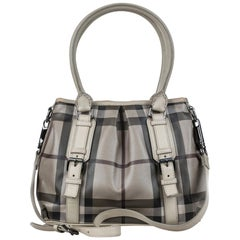 Vintage Authentic Burberry Gray Canvas Fabric Smoke Check Satchel China LARGE