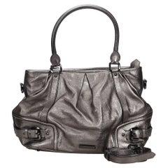 Vintage Authentic Burberry Gray Leather Satchel United Kingdom w Dust Bag LARGE