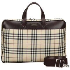 Vintage Authentic Burberry House Check Business Bag w / Box  LARGE