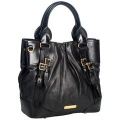 Vintage Authentic Burberry Leather Lowry Satchel w Dust Bag MEDIUM
