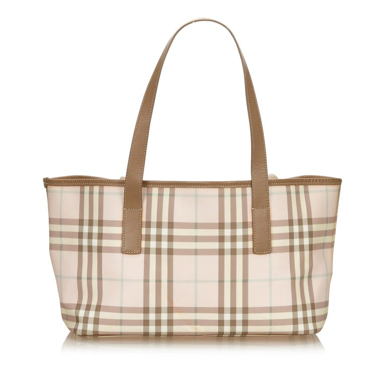 Beige Vintage Authentic Burberry Pink Plaid Tote Bag United Kingdom LARGE  For Sale