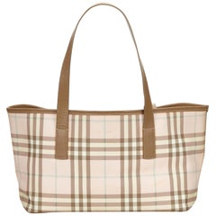 Vintage Authentic Burberry Pink Plaid Tote Bag United Kingdom LARGE