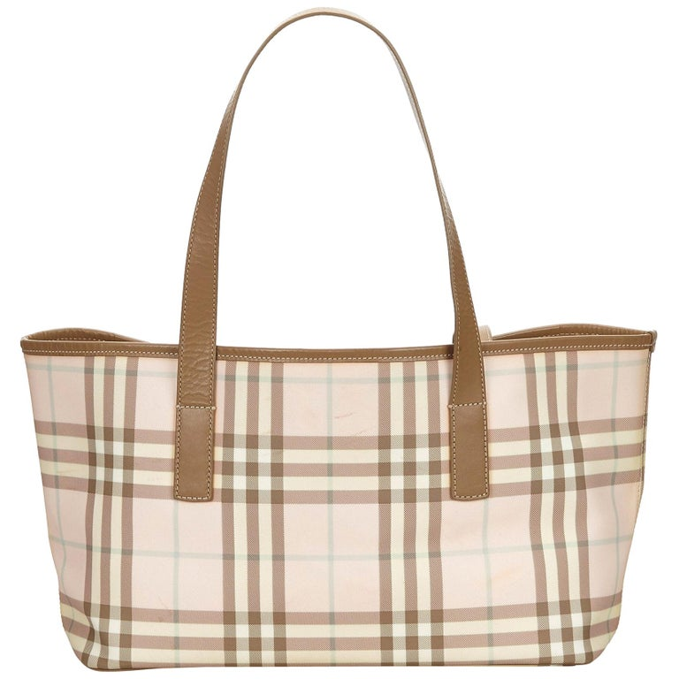 Vintage Authentic Burberry Pink Plaid Tote Bag United Kingdom LARGE  For Sale