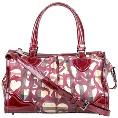 Vintage Authentic Burberry Red Hearts House Check Pilgrim Satchel Italy w LARGE