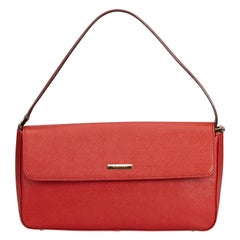 Vintage Authentic Burberry Red Leather Baguette United Kingdom SMALL
