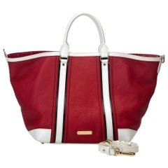 Vintage Authentic Burberry Red Leather Jameson Satchel ITALY w Dust Bag LARGE
