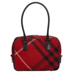 Vintage Authentic Burberry Red Plaid Shoulder Bag United Kingdom MEDIUM