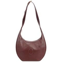 Vintage Authentic Cartier Brown Leather Shoulder Bag France SMALL