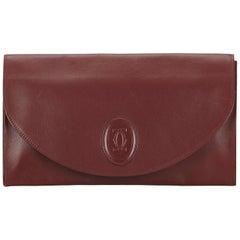 Vintage Authentic Cartier Leather Mast de Cartier Clutch w Dust Bag SMALL