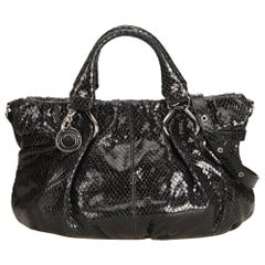 Vintage Authentic Celine Black Embossed Satchel France w Dust Bag LARGE