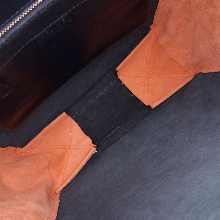 Vintage Authentic Celine Black Leather Bicolor Vertical Cabas Tote FRANCE LARGE  For Sale 1