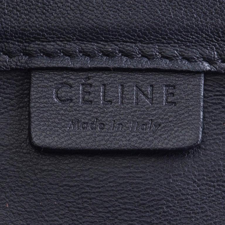 Vintage Authentic Celine Black Leather Bicolor Vertical Cabas Tote FRANCE LARGE  For Sale 2