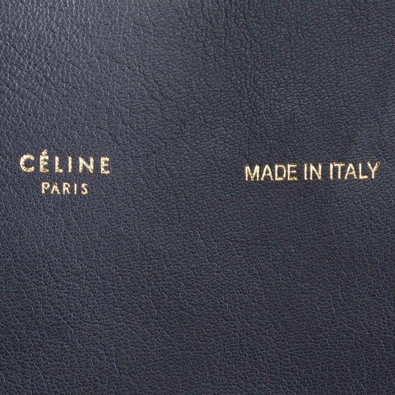 Vintage Authentic Celine Black Leather Bicolor Vertical Cabas Tote FRANCE LARGE  For Sale 3