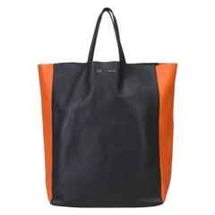 Vintage Authentic Celine Black Leather Bicolor Vertical Cabas Tote FRANCE LARGE