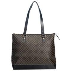 Vintage Authentic Celine Black PVC Plastic Macadam Tote Bag France LARGE