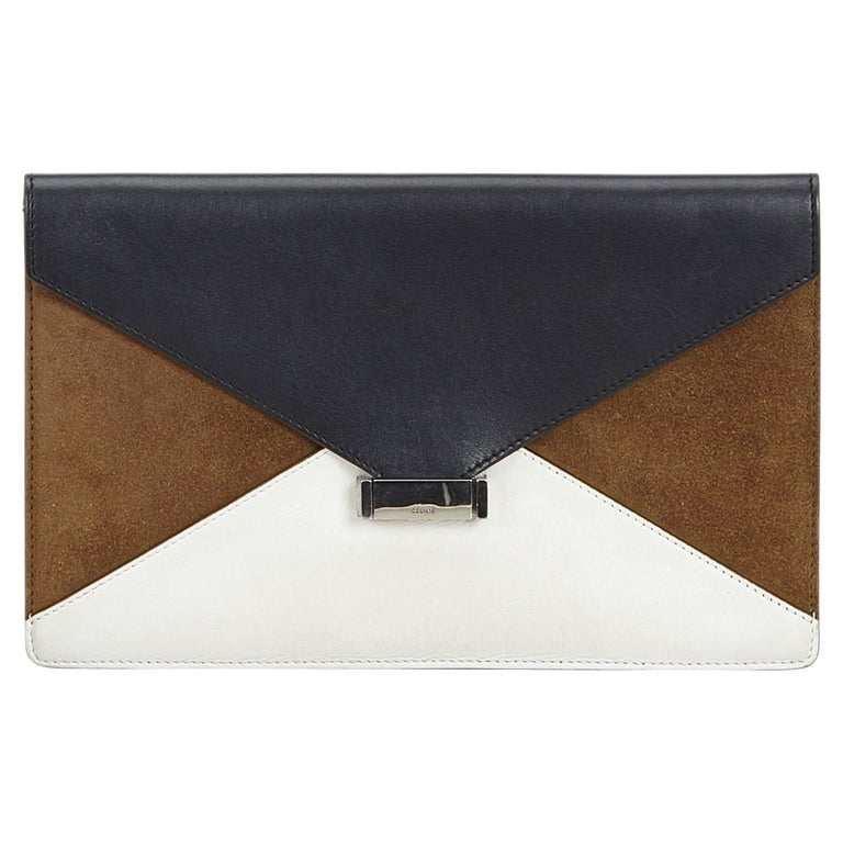 Vintage Authentic Celine Blue Navy Leather Diamond Clutch Bag France SMALL  For Sale