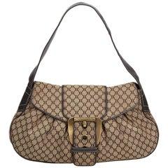 Vintage Authentic Celine Brown Canvas Fabric Macadam Shoulder Bag France MEDIUM