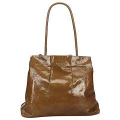 Vintage Authentic Celine Brown Dark Brown Patent Leather Tote Bag France LARGE