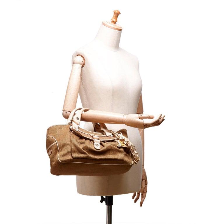 Vintage Authentic Celine Brown Jacquard Fabric Boogie Bag CHINA MEDIUM  For Sale 5