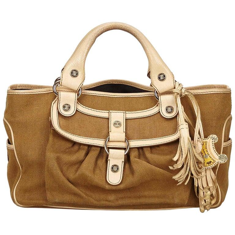 Vintage Authentic Celine Brown Jacquard Fabric Boogie Bag CHINA MEDIUM  For Sale