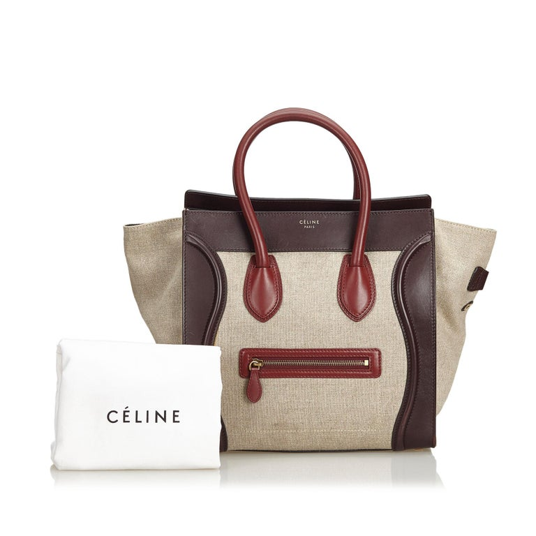 Vintage Authentic Celine Brown Leather Luggage Tote Bag France w LARGE  For Sale 7
