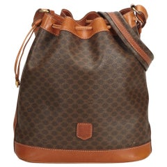 Vintage Authentic Celine Brown Macadam Drawstring Bucket Bag Italy MEDIUM