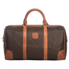 Vintage Authentic Celine Brown Macadam Duffle Bag France w Padlock Key LARGE