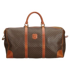 Vintage Authentic Celine Brown Macadam Duffle Bag France w Padlock LARGE