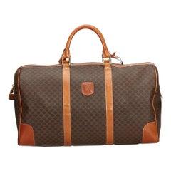 Vintage Authentic Celine Brown Macadam Duffle Bag Italy w Padlock Key LARGE