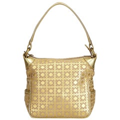 Vintage Authentic Celine Brown Metallic Pattern Handbag France SMALL